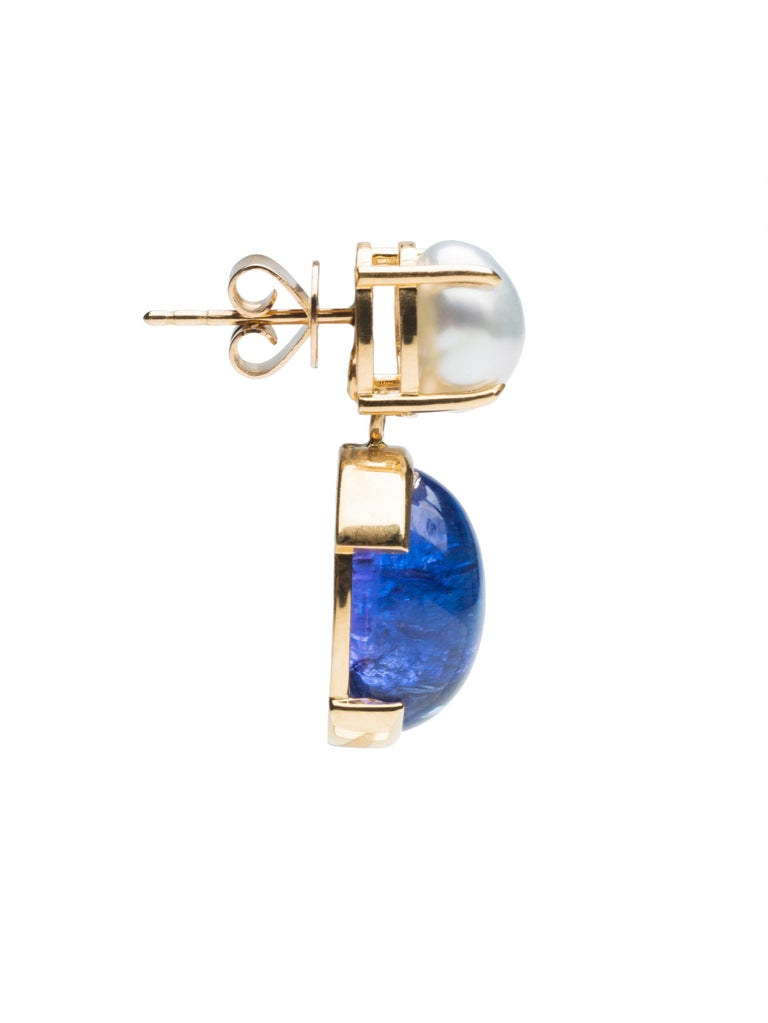 Women's Something Blue Keshi Pearl and Fine Tanzanite 18 Karat Gold Detachable Earrings For Sale