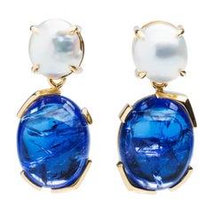 Something Blue Keshi Pearl and Fine Tanzanite 18 Karat Gold Detachable Earrings