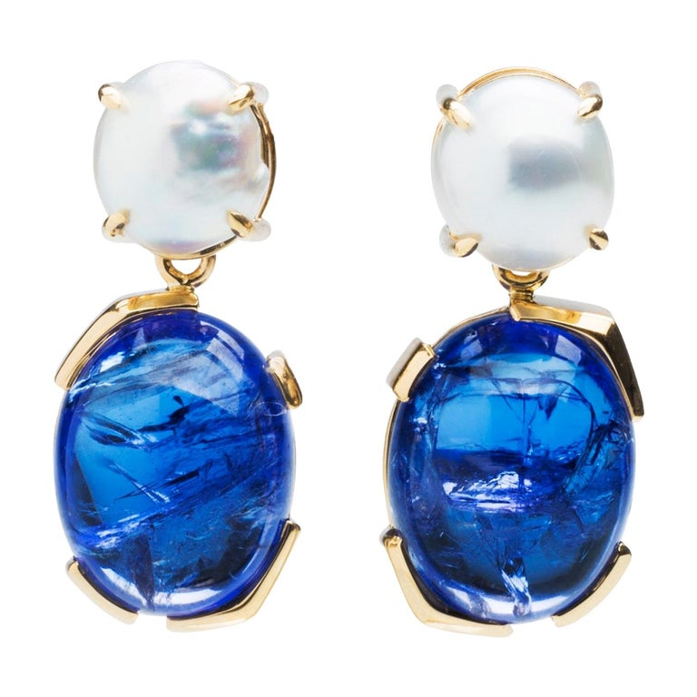 Something Blue Keshi Pearl and Fine Tanzanite 18 Karat Gold Detachable Earrings For Sale