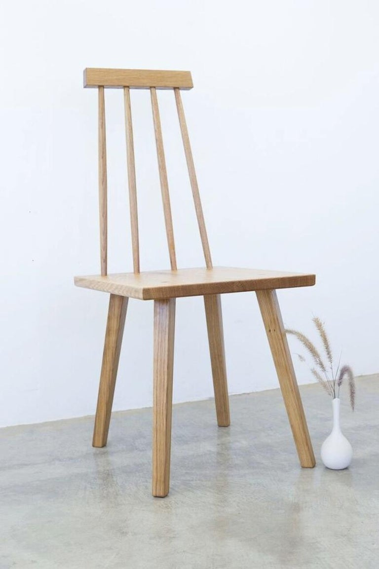 Shaker Sommar Dining Chair in White Oak with Spindle Back For Sale
