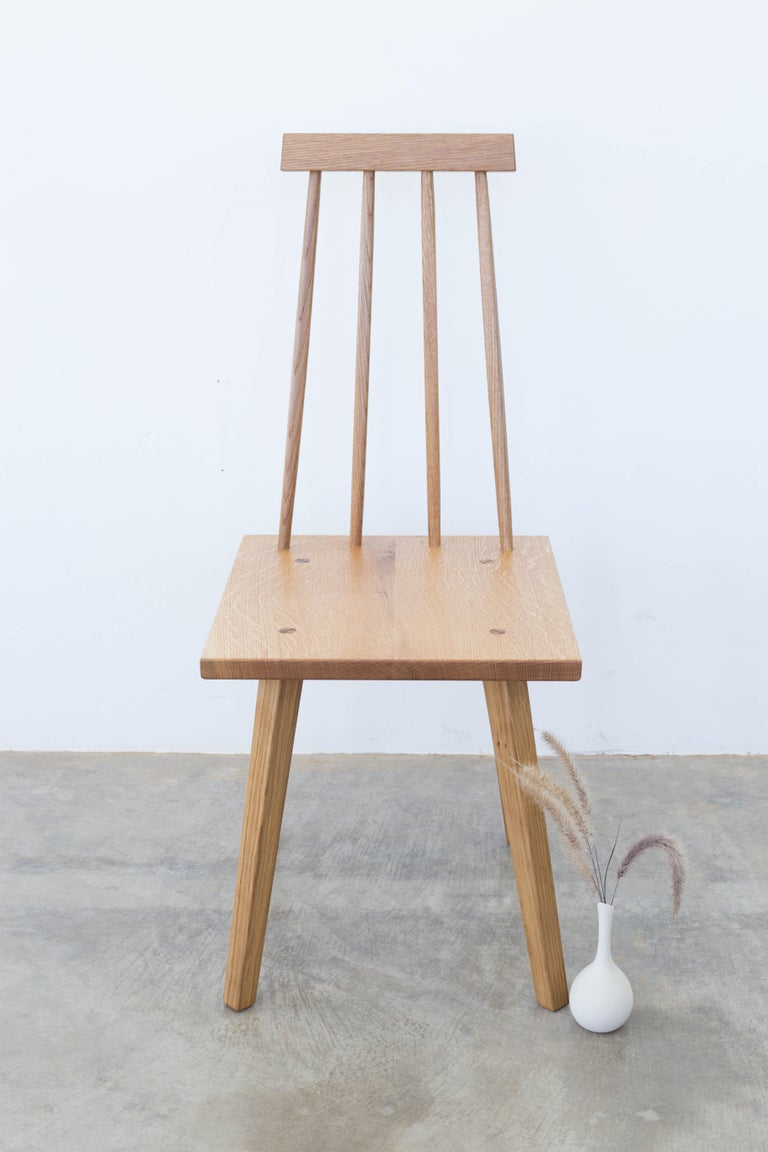 American Sommar Dining Chair in White Oak with Spindle Back For Sale