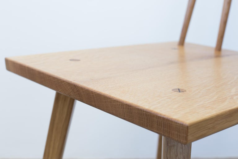 Hand-Crafted Sommar Dining Chair in White Oak with Spindle Back For Sale