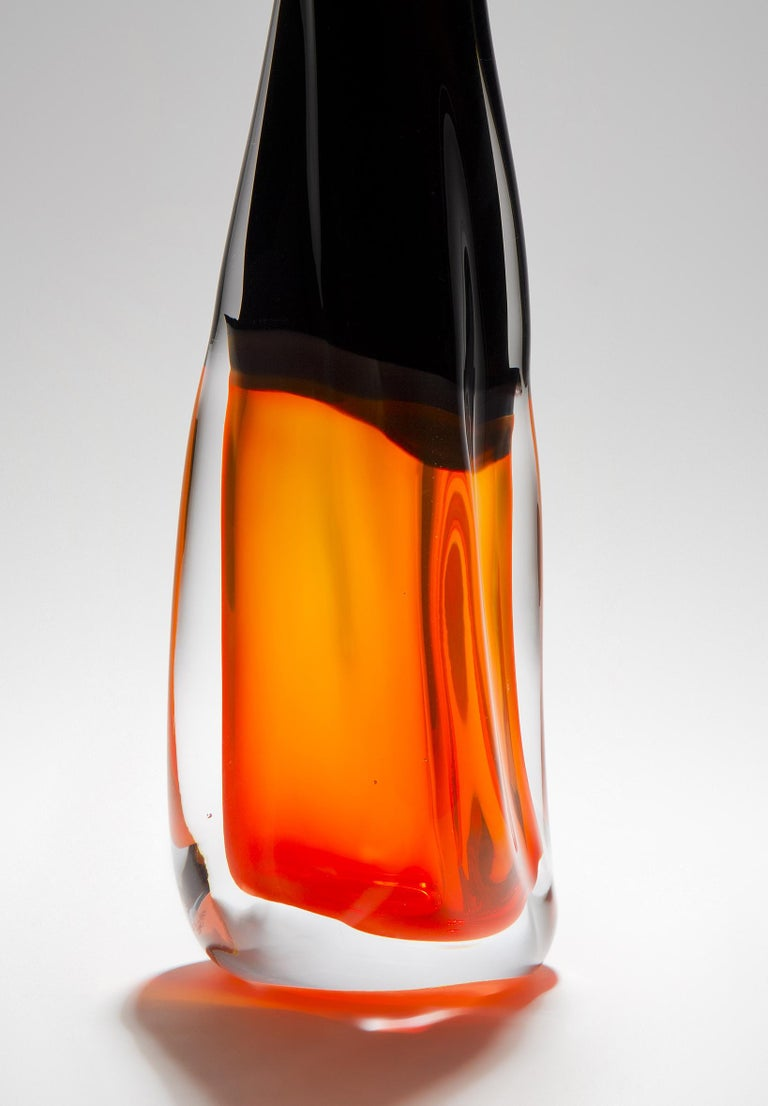 British Sommercalmo 83, a Unique glass Vase in clear, black & orange by Vic Bamforth For Sale