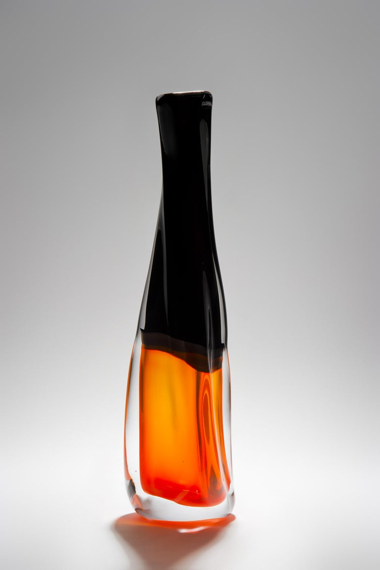 Hand-Crafted Sommercalmo 83, a Unique glass Vase in clear, black & orange by Vic Bamforth For Sale