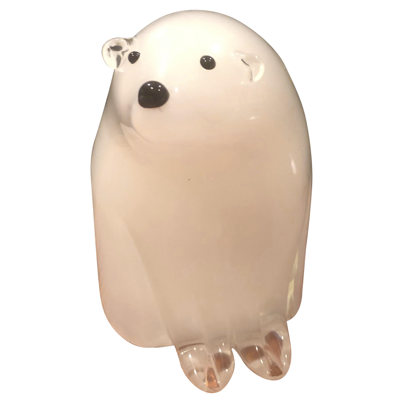 Sommerso Art Glass Polar Bear Sculpture by Murano