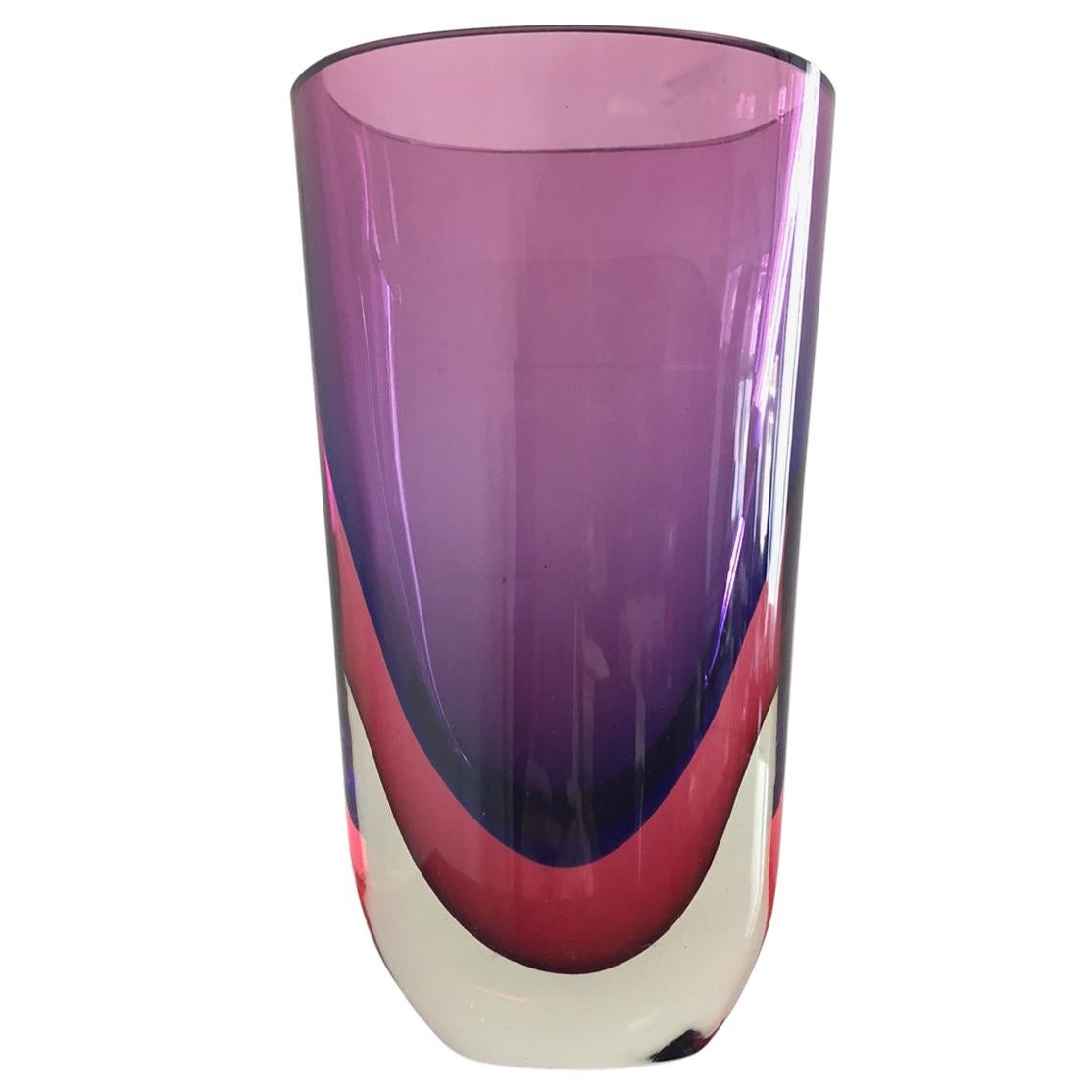 Sommerso Glass Vase by Flavio Poli