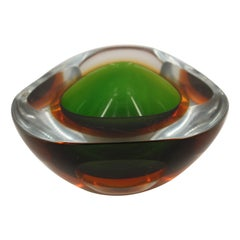 Sommerso Murano Glass Decorative Bowl Attributed to Flavio Poli, Italy, 1960