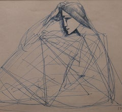 "Musings, Pen-Ink Drawing, Blue by Eminent Modern Indian Artist ""In Stock"""