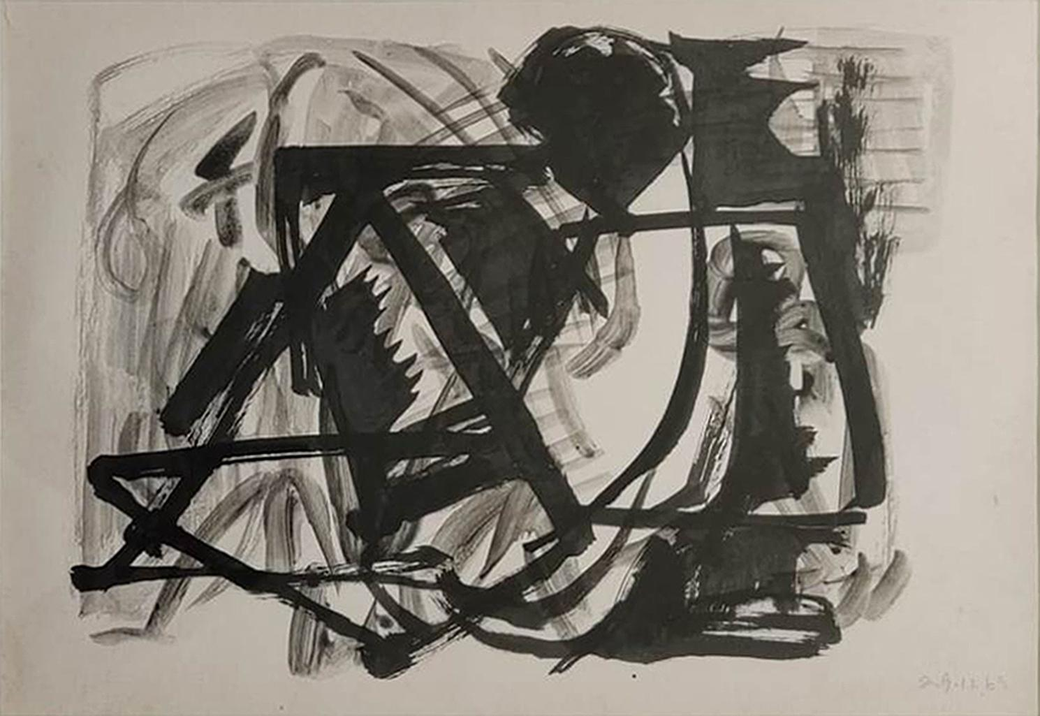 """Man Lying Down and Smoking , Ink Paper by Master Artist Somenath Hore """"In Stock"""""""