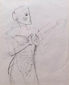 """Untitled, Figurative, Pen on Paper by Modern Indian Artist """"In Stock"""""""