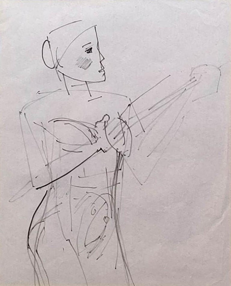 """Somnath Hore Portrait - Untitled, Figurative, Pen on Paper by Modern Indian Artist """"In Stock"""""""