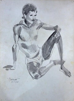 """Seated Man. Figurative, Watercolour on Paper by Modern Indian Artist """"In Stock"""""""