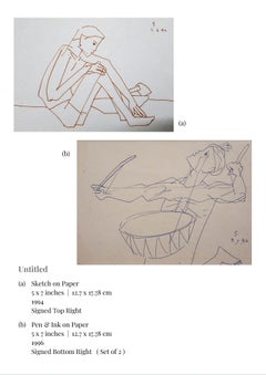 Untitled, Sketch on Paper & Pen & Ink on Paper (Set of 2) by Modern Artist