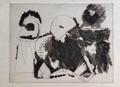 "Famine, Etching on Paper by Modern Indian Artist ""In Stock"""