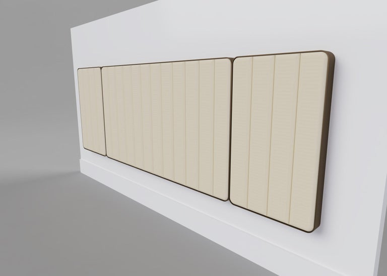 Art Deco Somnus Bed & Headboard w Flute Detailing in Ivory Boucle and Antique Brass Tint For Sale