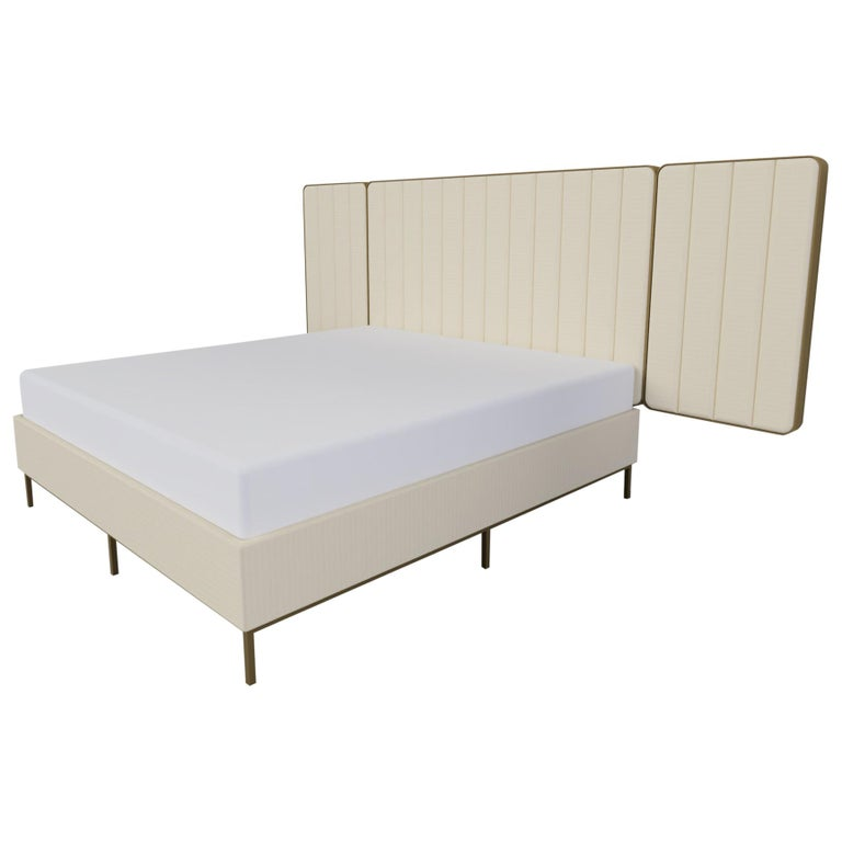 Somnus Bed & Headboard w Flute Detailing in Ivory Boucle and Antique Brass Tint For Sale