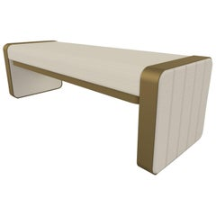 Somnus Bench with Flute Detailing in Ivory Boucle and Antique Brass Tint
