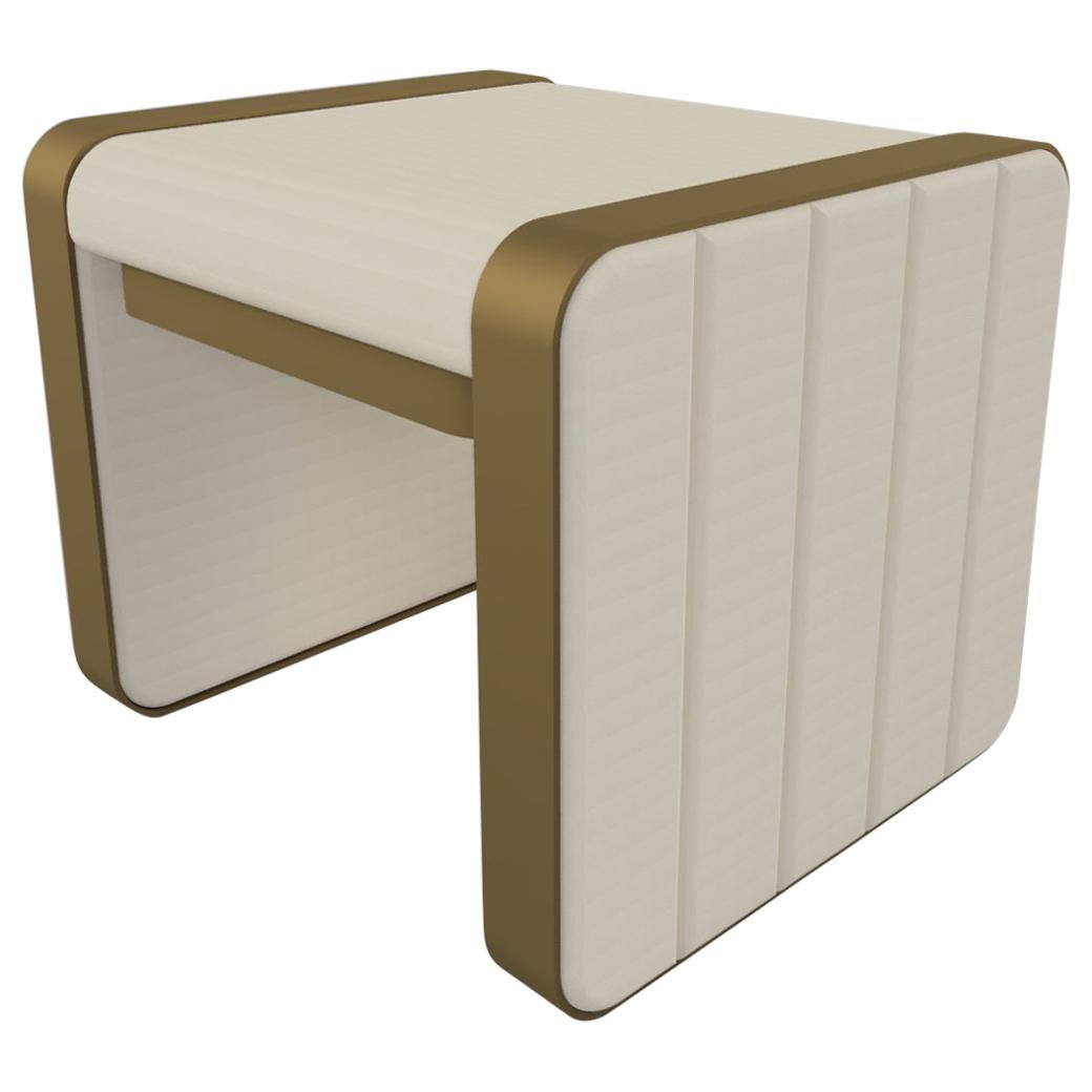 Somnus Stool with Flute Detailing in Ivory Boucle and Antique Brass Tint