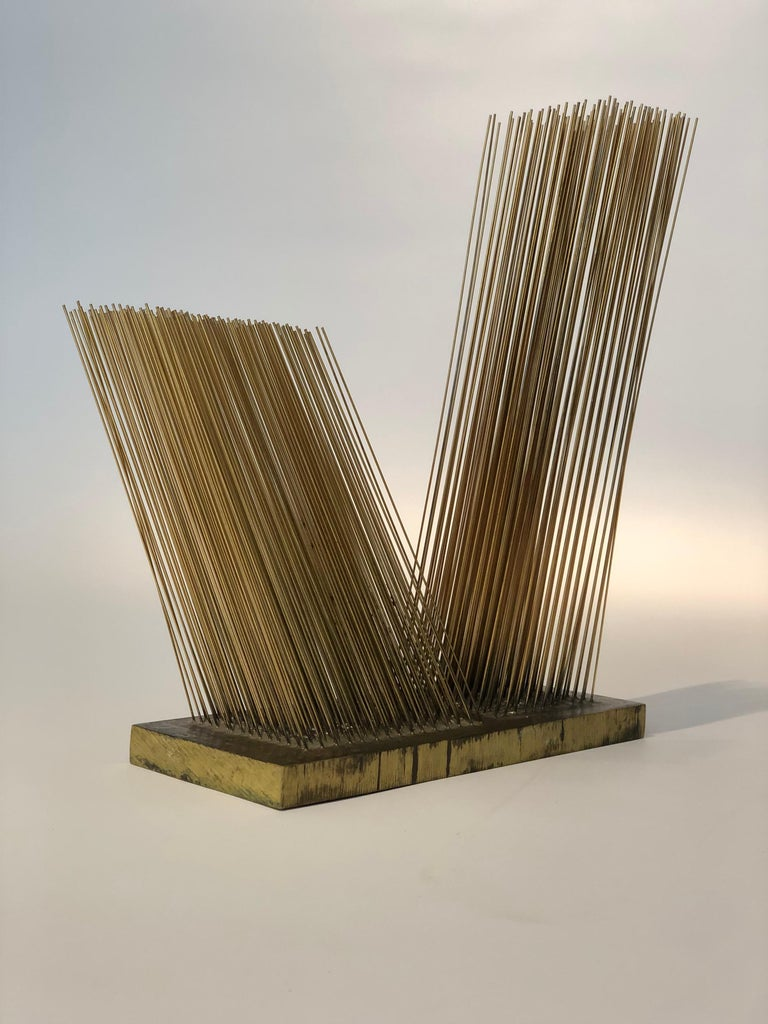 Rare Harry Bertoia sonambient sculpture. Pair of off-axis bronze rod arrays silver soldered onto a solid bronze base, circa 1967. Sold with a certificate of authenticity by the Hary Bertoia Foundation. Provenance: Obelisk Gallery, Boston Aquired