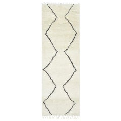 Sonet, Bohemian Moroccan Hand Knotted Runner Rug, Parchment