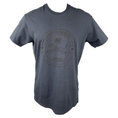 SONG FOR THE MUTE Size L Navy Graphic Cotton Crew-Neck T-shirt