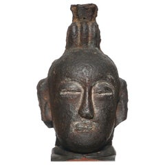 Song to Ming Dynasty Cast Iron Daoist Buddhist Head