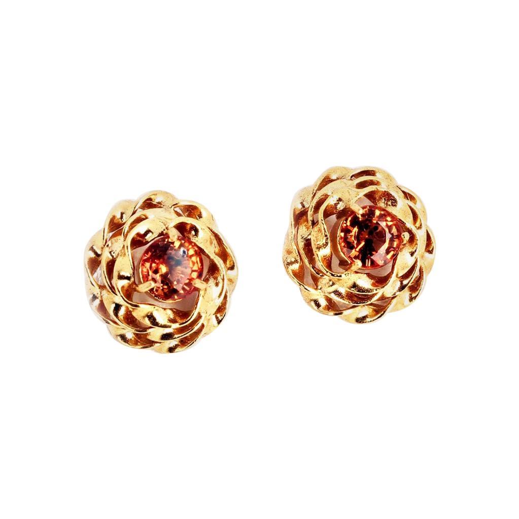 Gemjunky Stunning Unique Rare Songea Sapphire 14 Kt Yellow Gold Earrings