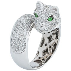Sonia B. 14 Karat Gold 4 Carat TDW Diamond and Emerald Panther Ring