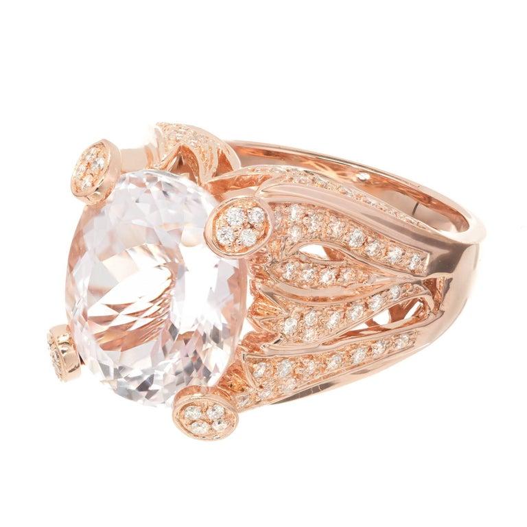 Sonia B 8.00 Carat Pink Kunzite Diamond Rose Gold Cocktail Ring