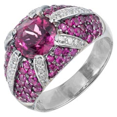Sonia B Pink Tourmaline Sapphire Diamond White Gold Dome Cocktail Ring