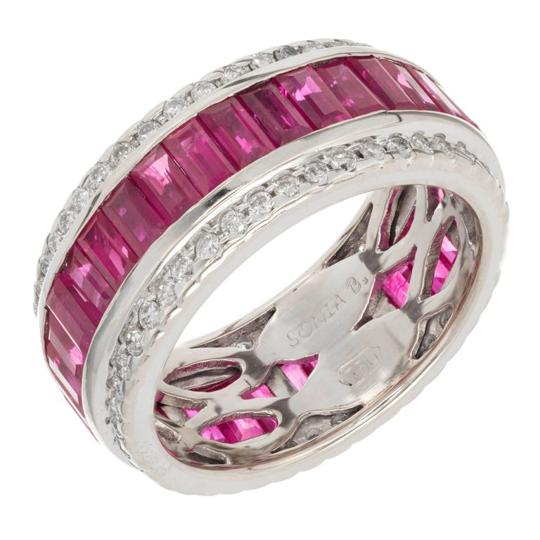 Sonia B 7.50 Carat Ruby Diamond Gold Band Ring