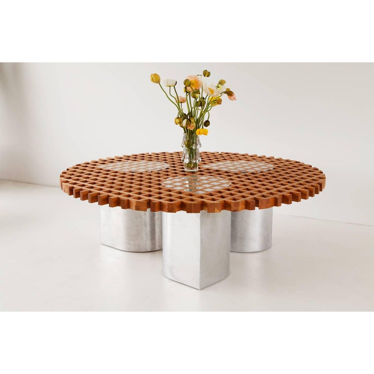 Modern Sonia Coffee Table or Side Table, Cherry Grid Pattern and Polished Aluminium For Sale