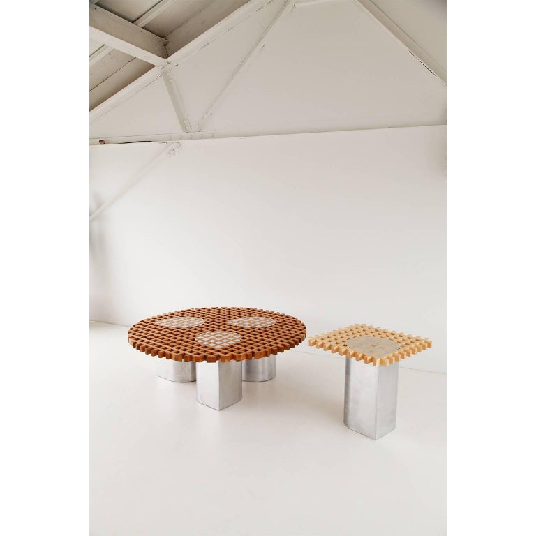 American Sonia Coffee Table or Side Table, Cherry Grid Pattern and Polished Aluminium For Sale