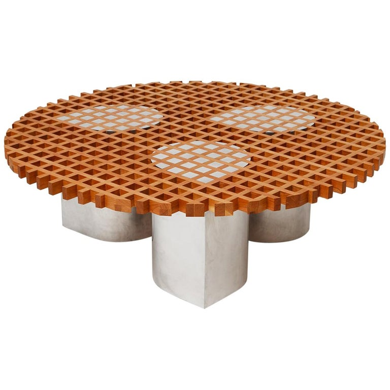 Sonia Coffee Table or Side Table, Cherry Grid Pattern and Polished Aluminium For Sale