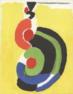 1972 Sonia Delaunay 'Composition' Expressionism Yellow,Black,Green,Blue,Orange F