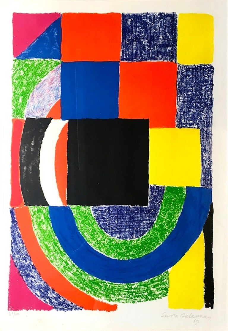 Composition is a colored lithograph realized by Sonia Delaunay in 1969.   Hand-signed and dated by the artist on lower right. Numbered on lower left. Edition 31/100 Good conditions except for some minor foxings.   This contemporary lithograph