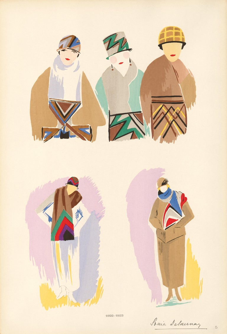 Sonia Delaunay Figurative Print - Fashion Pochoir of Five Women