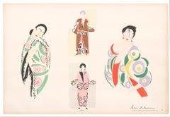 Fashion Pochoir of Four Women