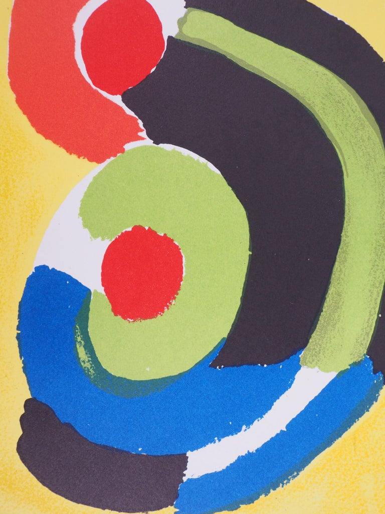 Flamenco : Spanish Dancer - Original lithograph (Mourlot 1972) - Yellow Abstract Print by Sonia Delaunay