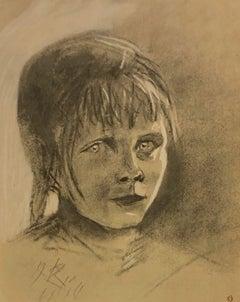 """""""Portrait of Young Girl"""" (Portrait de petite fille) Lithograph"""