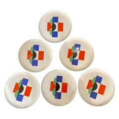 Sonia Delaunay, Set of 6 Plates and 1 Large Plate, circa 1985