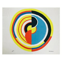 """Sonia Delaunay """"Signal"""" Printed Canvas by Bianchini Férier for Artcurial 20thC"""