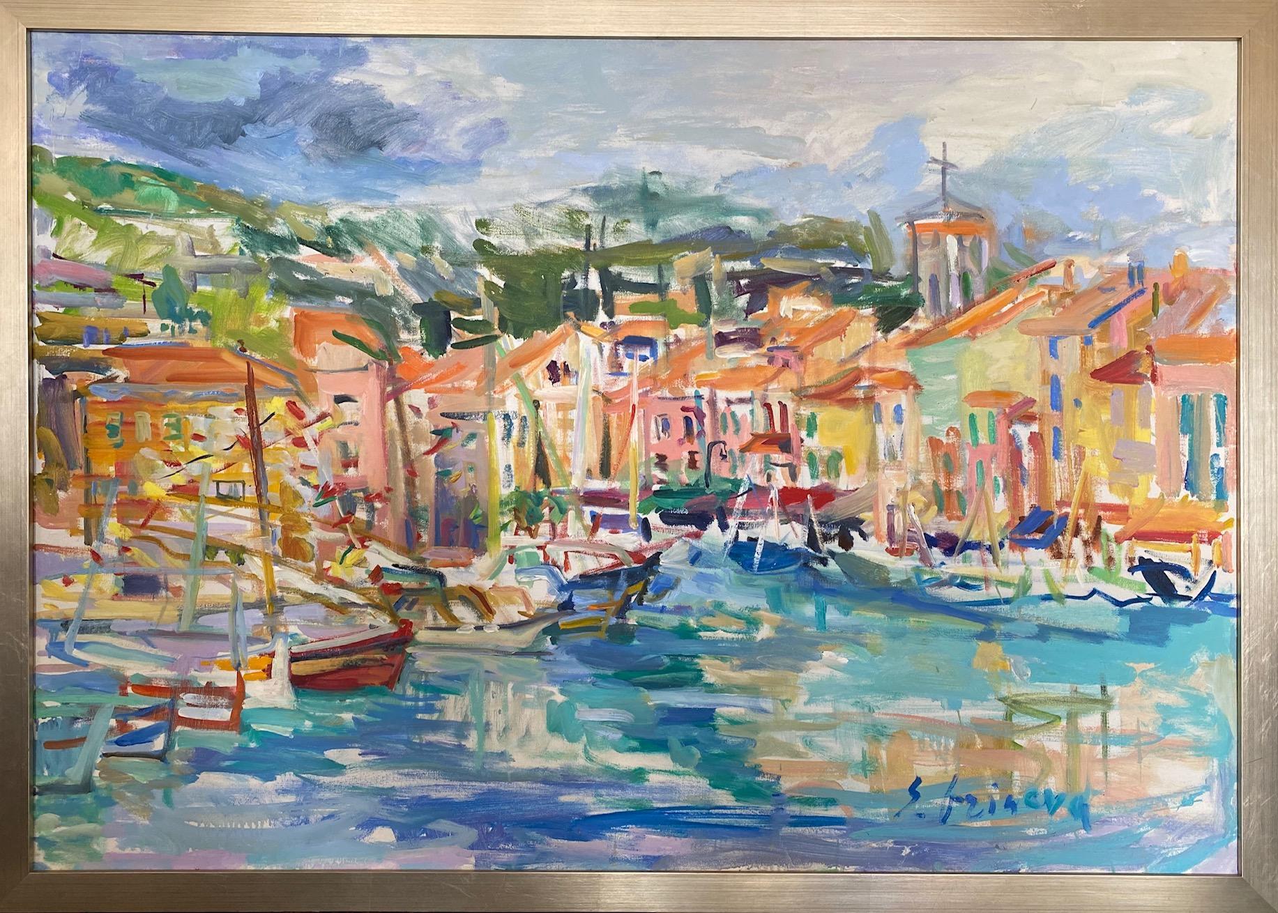 Cassis, original 32x46 abstract impressionist European landscape
