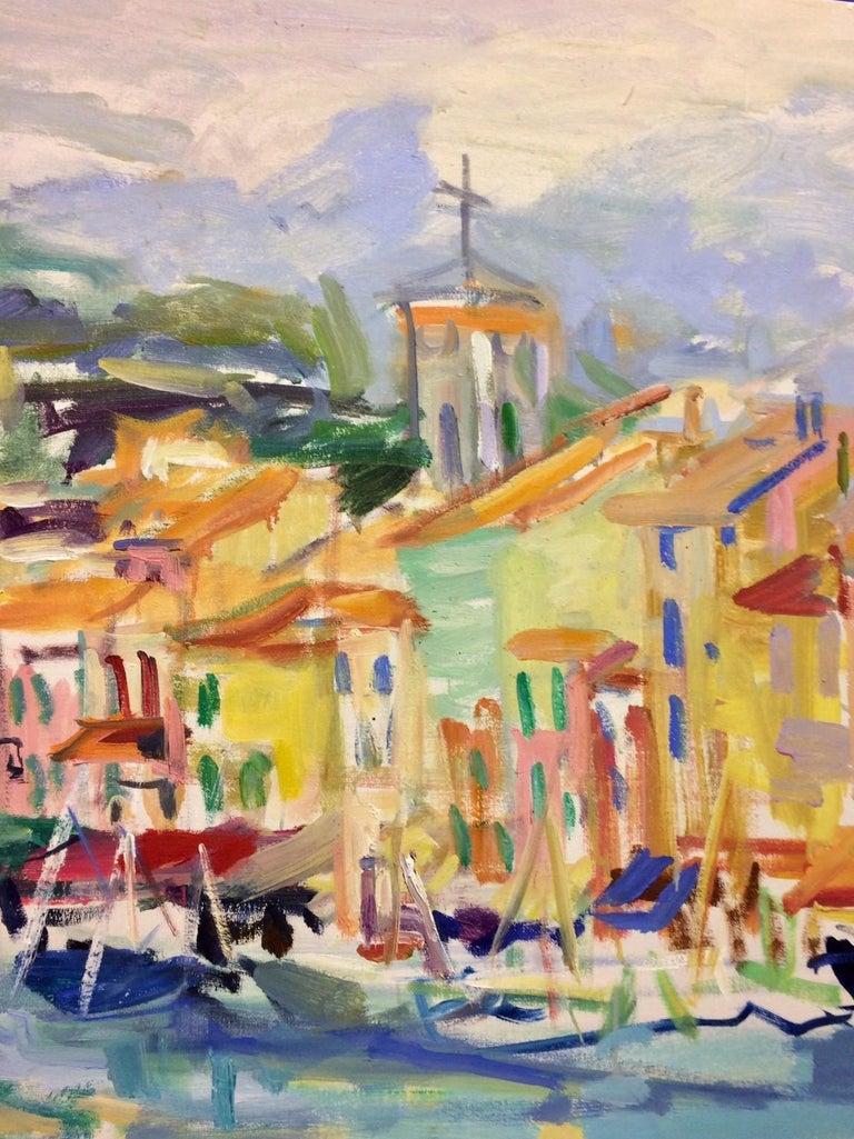 Cassis, original 32x46 abstract impressionist European landscape - Abstract Impressionist Painting by Sonia Grineva