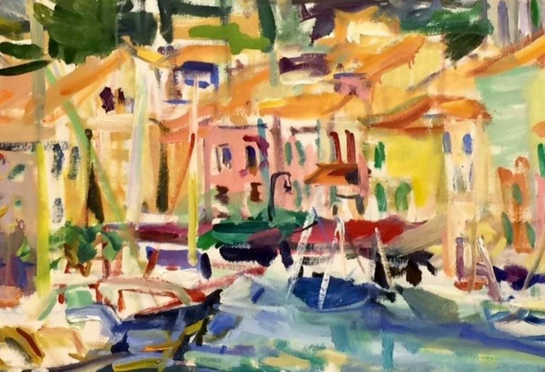 Step into what's sophisticated and trending, Cassis, France, on the Riviera, abstracted to full effect of the lifestyle there.  The bright hues of color, muted by the sun baking upon the boats endlessly bobbing in the Mediterranean, add a carefree