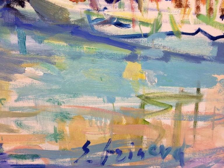 Cassis, original 32x46 abstract impressionist European landscape For Sale 1