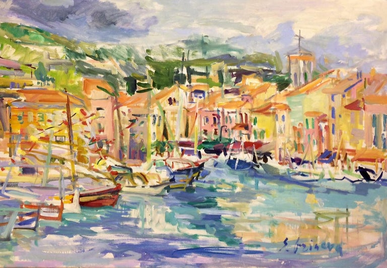 Cassis, original 32x46 abstract impressionist European landscape - Painting by Sonia Grineva
