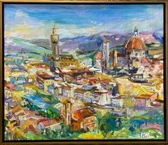 Florence, original 38x45 abstract expressionist Italian landscape