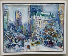 In Front of the Plaza, original abstract expressionist New York City landscape