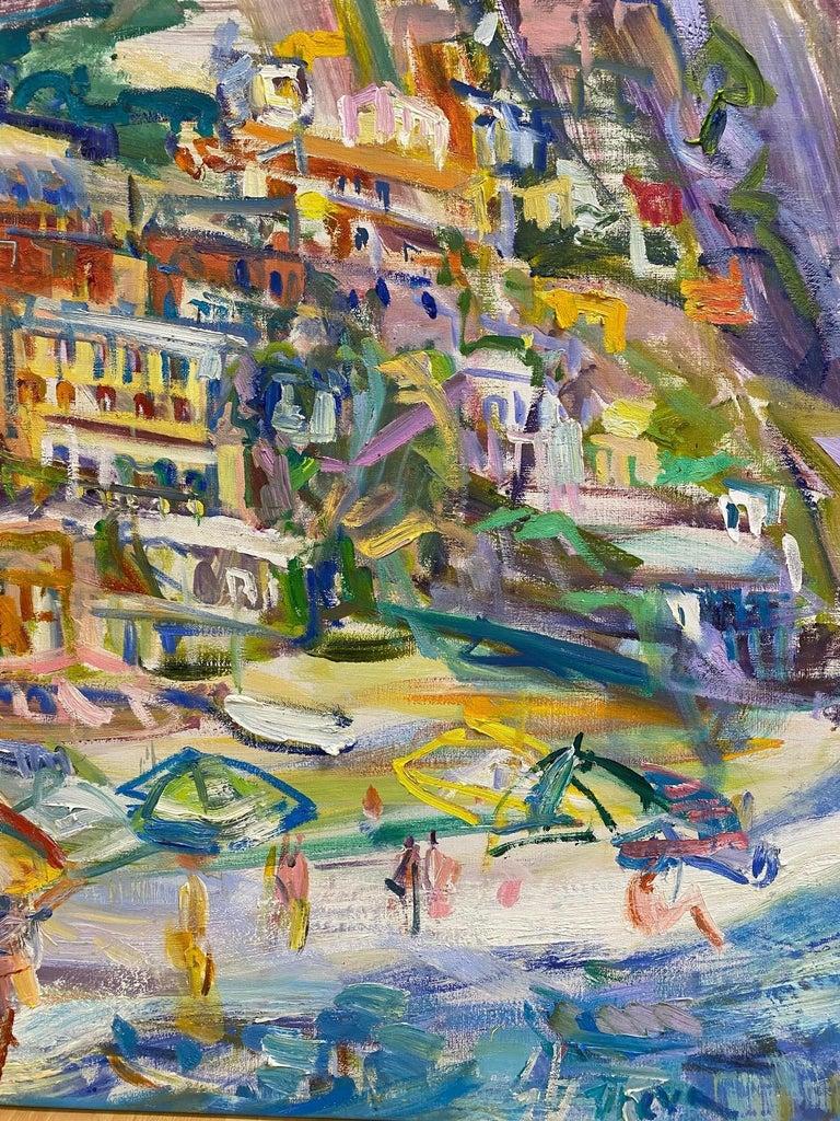 Positano Beach, original 42x51 post impressionist Italian marine landscape - Painting by Sonia Grineva